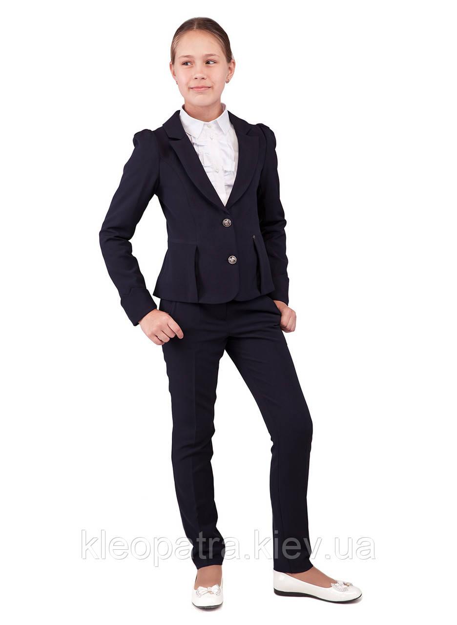 Школьный пиджак с брюками  для девочки синего цвета