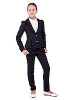 Школьный пиджак с брюками  для девочки синего цвета, фото 1