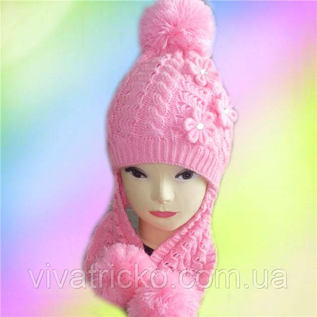 Шапка для девочек зимняя Ажур-косы, 3-10 лет, флис