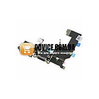 Шлейф с разъемом зарядки и гарнитуры для iPhone 5, цвет черный, копия высокого качества