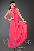 Летнее шифоновое платье-сарафан в пол, воротник стоечка.