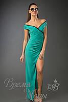 Платье из масла в пол с кружевом /Зелёное/ 10 цветов