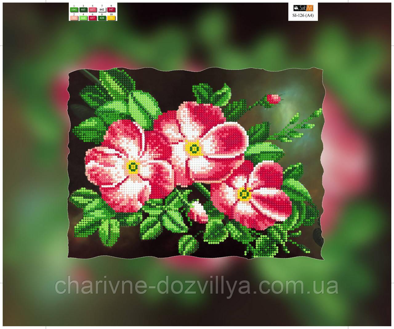 """Схема для вышивки бисером на подрамнике (холст) """"Розовая магнолия"""""""