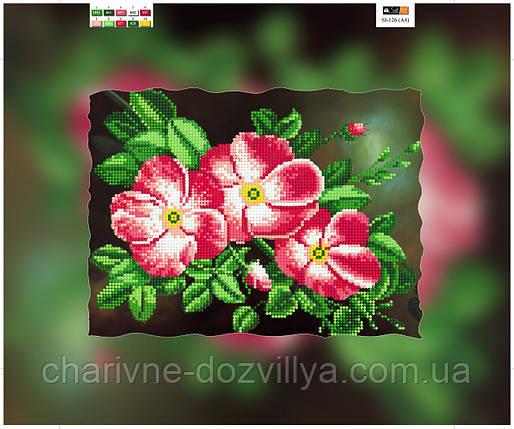 """Схема для вышивки бисером на подрамнике (холст) """"Розовая магнолия"""", фото 2"""