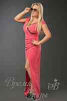 Платье из масла в пол с кружевом. /Розовое/