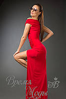 Платье из масла в пол с кружевом. /Красное/