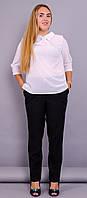 Кортни. Женская блузка супер батал. Белый.