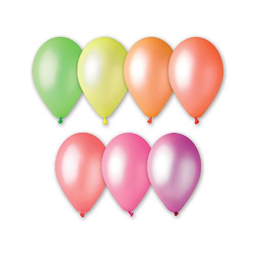 Латексные воздушные шары AF80 Gemar Италия, расцветка: неон ассорти, Диаметр 9 дюймов/21 см, 100 штук в упаков