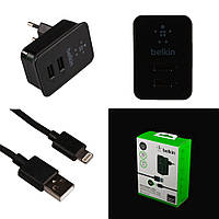СЗУ BELKIN CUB 220V-USB, 2 port, 10W, 5-5.5V 2*2A, Black, BOX