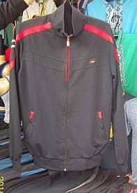 Спортивний чоловічий костюм чорний+червоні смужки