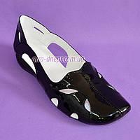 Балетки лаковые женские летние, цвет черный, фото 1