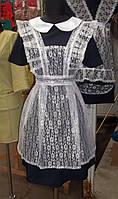 Школьная форма Платье+белый фартух, короткий рукав