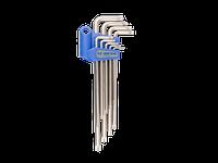 Набор Г-образных ключей TORX удлиненных T10-T50 с отверстием KING TONY, 9шт