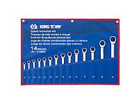 Набор ключей комби 8-24 с трещоткой  KING TONY, 14шт.