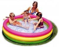 Бассейн детский с надувным дном Intex 57422 круглый разноцветный