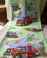 Полуторный детский комплект (рисунок Большие грузовики )салатовый