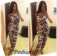 Стильный женский комбинезон брюки, с ярким цветочным принтом