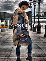 "Парка джинса (деним) с мехом шикарного енота ""Michele"", фото 1"