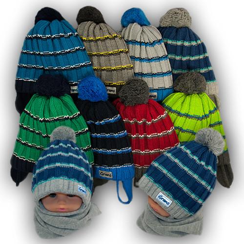 Комплект шапка и шарф для мальчика, Grans (Польша), подкладка SOFTI TERM