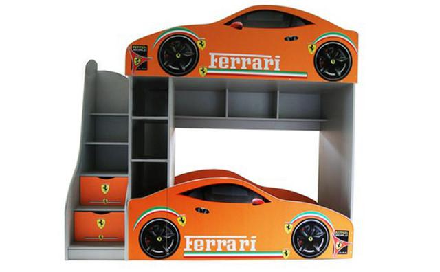 Двухъярусная кровать - чердак Феррари для двоих детей купить недорого! Новинка Бесплатная доставка!