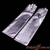 Перчатки  женские, серебро