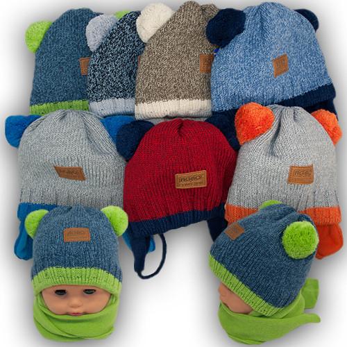 Комплект шапка и шарф для мальчика, Agbo (Польша), подкладка флис, DYZIO 897