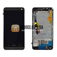 Дисплей HTC One M7 801 с тачскрином в сборе (с держателем сим-карты), цвет черный, в рамке, ТЕСТ ОК