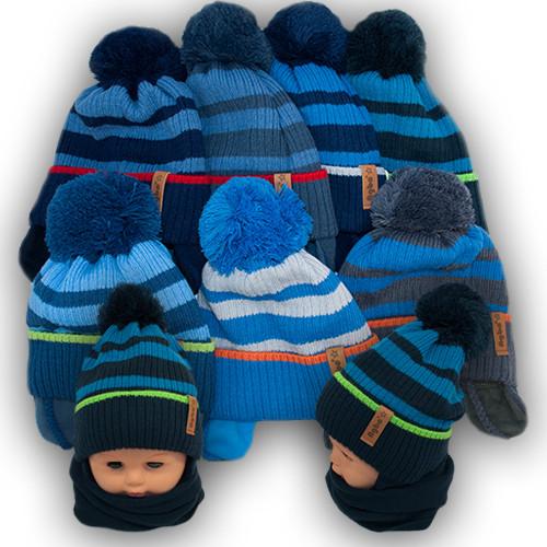 Комплект шапка и шарф для мальчика, Agbo (Польша), подкладка флис, KORAL 989