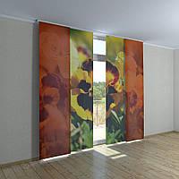Японские шторы с печатью цветы