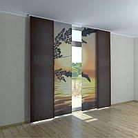Японские шторы с печатью закат над морем