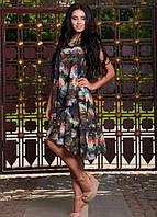 Цветочное платье с асимметричным подолом