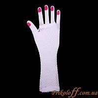 Перчатки митенки, белая сеточка