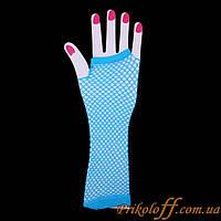 Перчатки митенки, голубая сеточка