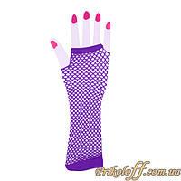 Перчатки митенки, фиолетовая сеточка