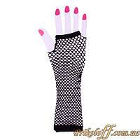 Перчатки митенки, черная сеточка