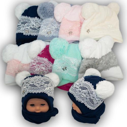 Детский комплект - шапка и шарф для девочки, Agbo (Польша), подкладка флис, KORONKA 1016