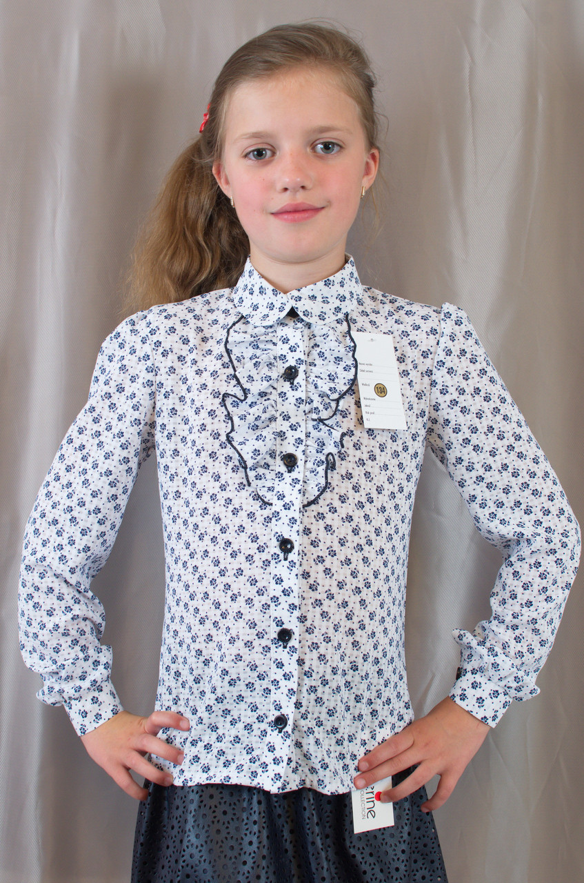 Школьная блуза для девочки с отложным воротником, длинным рукавом