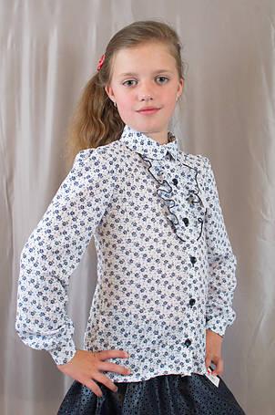 Школьная блуза для девочки с отложным воротником, длинным рукавом, фото 2