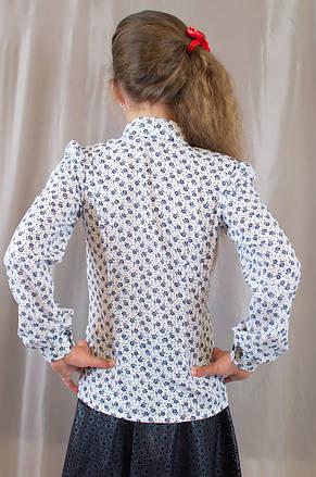 Школьная блуза для девочки с отложным воротником, длинным рукавом, фото 3