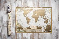 Скретч карта мира My Map Antique с увеличенными картами Европы и Украины на английском яз подробная)