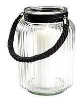 Уличный (садовый) стеклянный фонарик для свечи с ручкой канатом