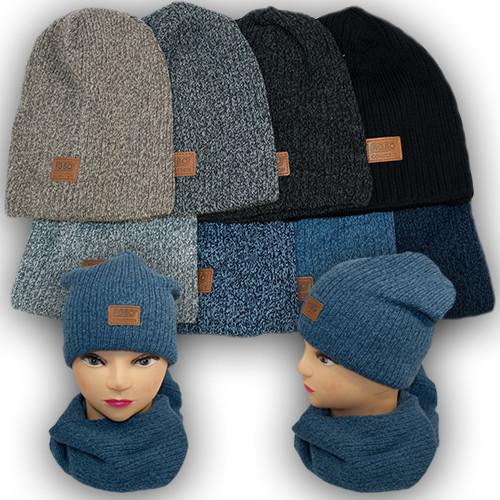 Комплект - шапка и шарф для мальчика, Agbo (Польша), подкладка флис, EDI 949