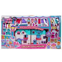 Кукольный домик для девочек 1205: музыка/свет, 3 фигурки, мебель, 88*48,5*8 см