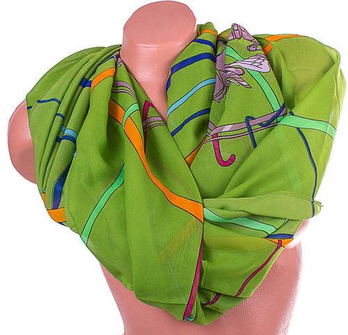 Яркий женский шарф из полиэстера 149 на 103 см ASHMA (АШМА) DS901-37-1 зеленый