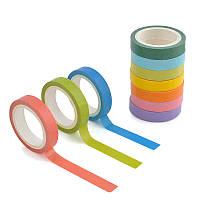 Набор из 10 бумажных разноцветных скотчей для декора