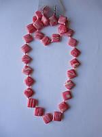 Коралл розовый комплект бусы, серьги,браслет Ромб15мм