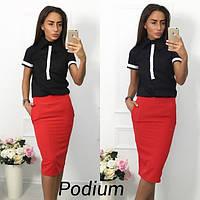 Стильный женский костюм: юбка-карандаш и красивая блуза с воротником