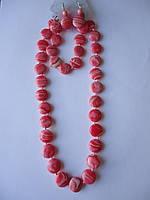 Коралл розовый Комплект бусы, серьги,браслет Копейка 15 мм
