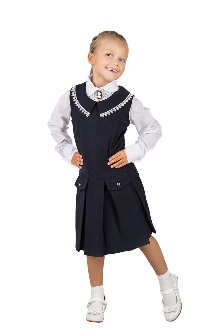 Школьный сарафан для девочки чёрного цвета, Ажур