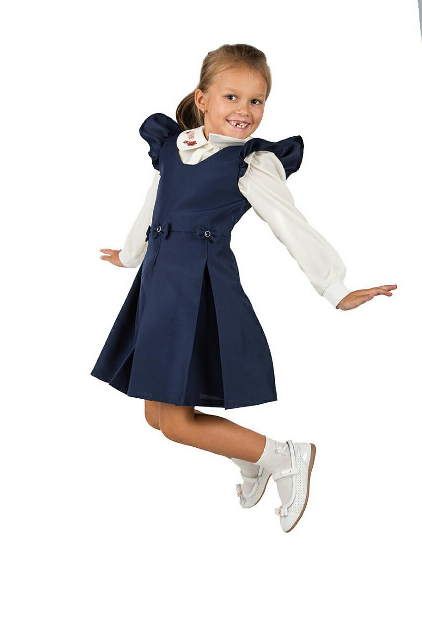 Школьный сарафан для девочки синего цвета, Бантик